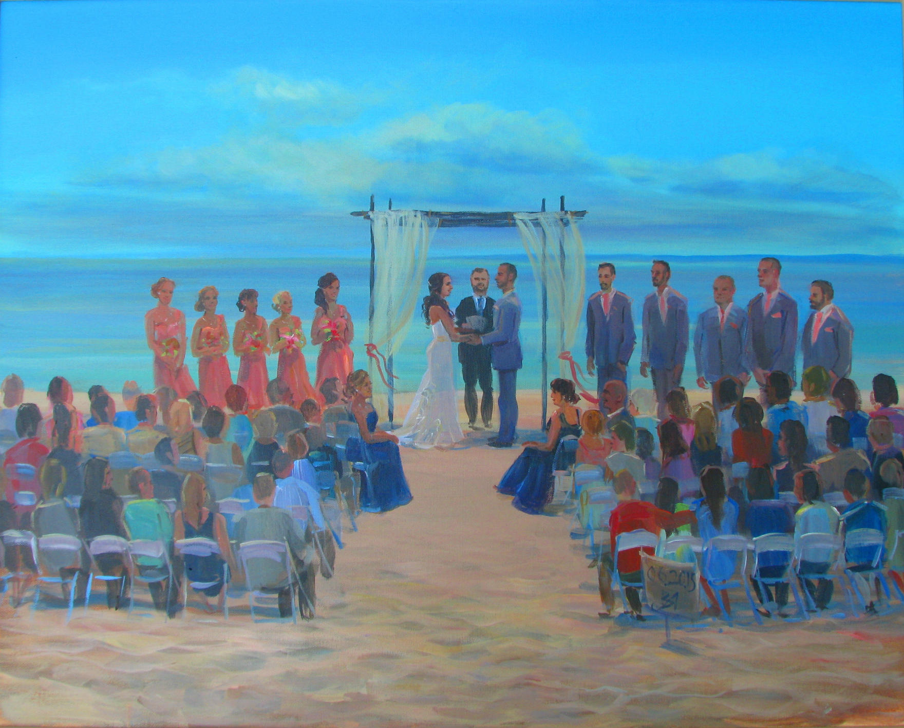 silver beach wedding